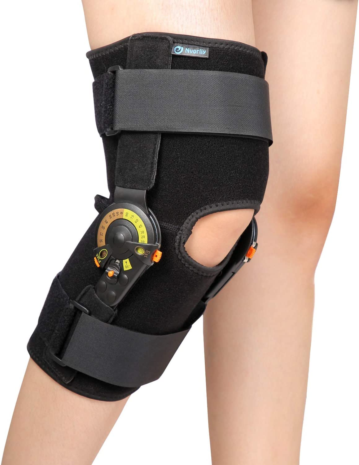 Nvorliy Hinged ROM Max 58% OFF Knee Cheap mail order shopping Brace Immobilizer Adjustable Suppor
