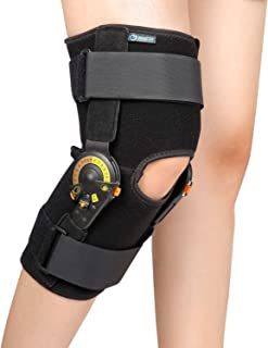 Nvorliy Hinged ROM Knee Brace Adjustable Knee Immobilizer Support for Arthritis, ACL, PCL, Meniscus Tear, Tendon, Osteoarthritis, Post OP Recovery - Leg Stabilizer for Men & Women - One Size