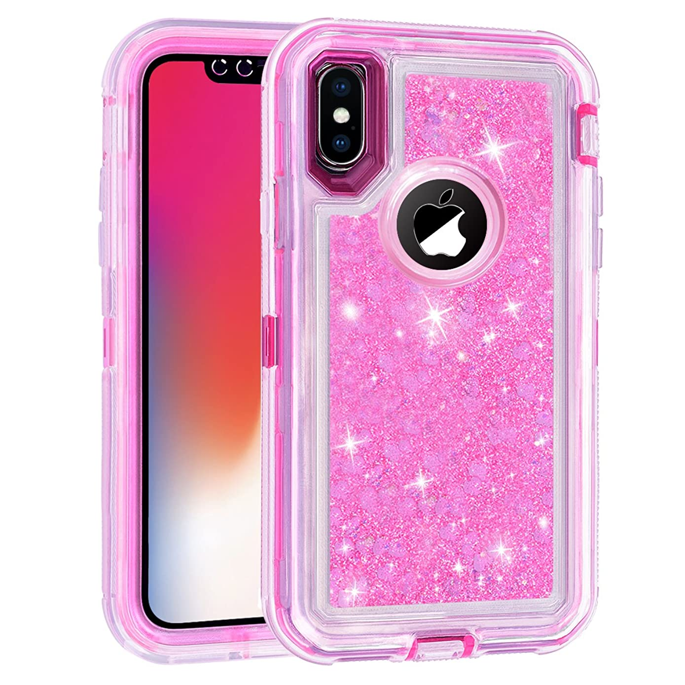 iPhone 8 Plus,7 Plus,6/6S Plus Universal Heavy Duty Protector Case,LLARIMIN Glitter 3D Bling Liquid Case for Girls,Luxury 3 in 1 Soft Core + Hard Frame Shockproof Case for iPhone 6/6s/7/8 Plus (Pink)