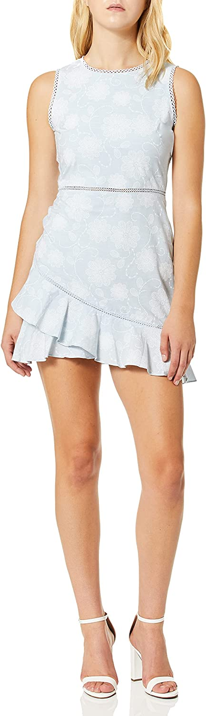 J.O.A. Women's Crew Neck Sleeveless Asymmetrical Ruffled Hem Mini Dress