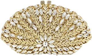 Lanbinxiang @ Luxury Leaf Hollow Metal Double-Sided Crystal Rhinestone Banquet Clutch Bag Ladies Wedding Dress Evening Bag Chain Lady Shoulder Bag Size: 19.5 * 6 * 11.5cm (Color : Gold)