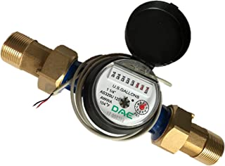 """DAE AS320U-125P 1-1/4"""" Water Meter with Pulse Output, Measuring in Gallon + Coupling"""