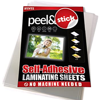 Huntz Self-Adhesive Laminating Sheets, Letter Size(9 x 12 Inches / 4 Mil), Clear, Pack of 50, HT-LMS50P