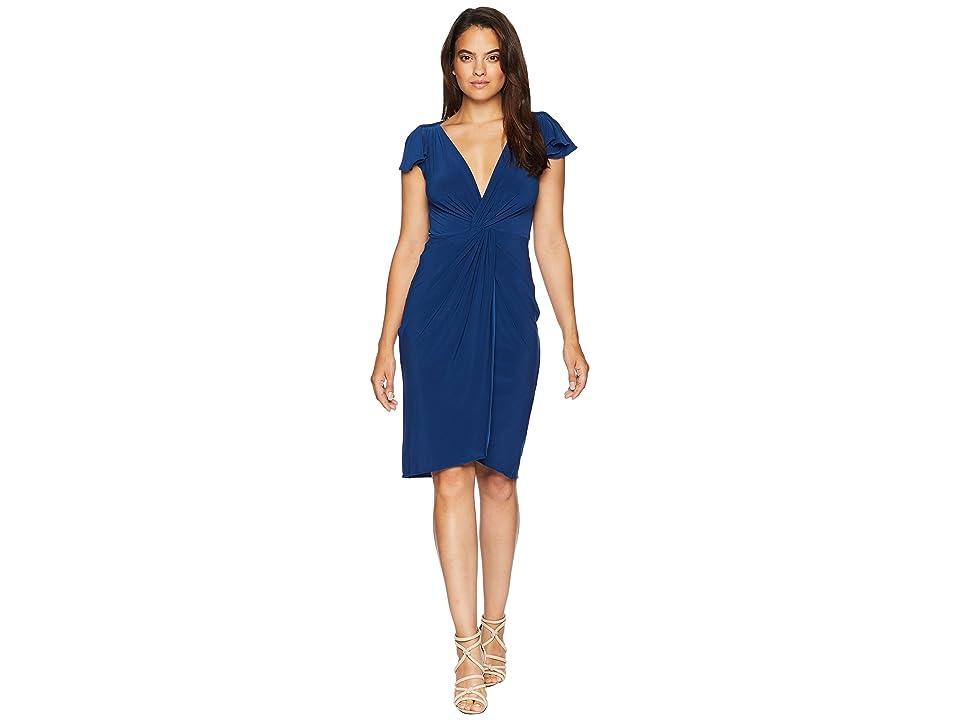Taylor Flutter Sleeve Knot Jersey Dress (Navy) Women