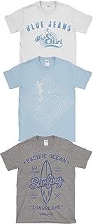 Hombre Triple Paquete De Estampado Verano Algodón Camisetas