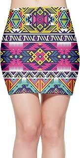 Women's Aztec Neon Colors Tribal High Waist Bodycon Mini Skirt Sexy Mini Party Skirt