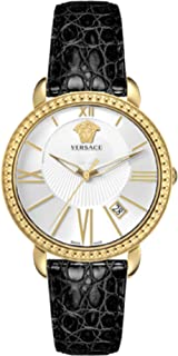 VM602 0014, KRIOS, IP yellow gold 2N white dial black strap with date womens watch
