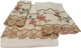 Editex Home Curtain 3 Piece Rose GardenTowel Bath Set, 24