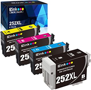 E-Z Ink (TM) Remanufactured Ink Cartridge Replacement for Epson 252XL 252 XL T252 T252XL120 to use with Workforce WF-3640 WF-3620 WF-7110 WF-7710 WF-7720 (1 Black, 1 Cyan, 1 Magenta, 1 Yellow) 4 Pack