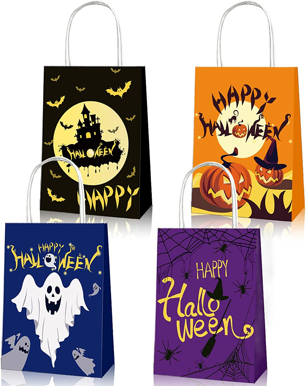 Bolsas papel kraft de 12 piezas, bolsas de papel de Halloween, bolsas regalo muy gruesa, bolsas para chuches con asa, bolsas de regalo de papel para regalos de fiesta de Halloween