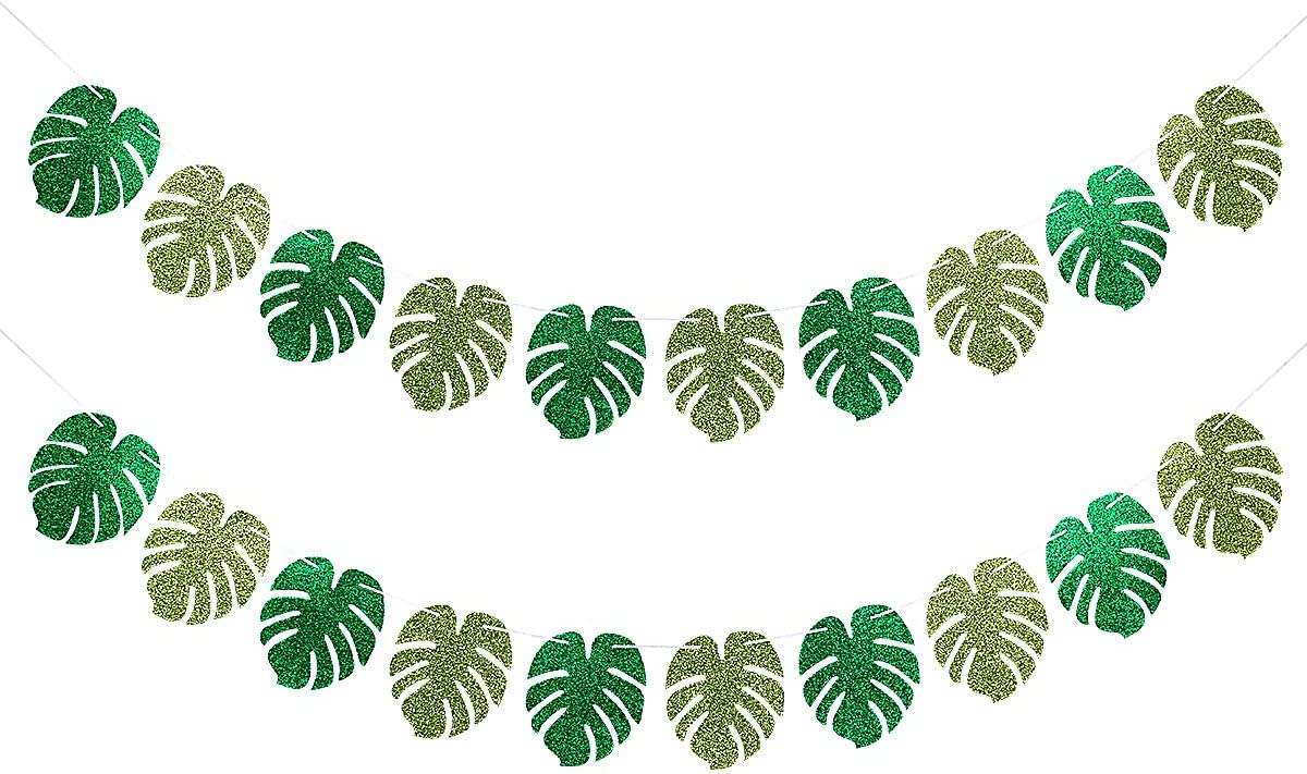 Glitter Tropical Atlanta Mall Palm Leaves Party Banner P Excellence Decorations