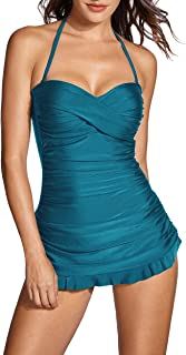DOBREVA Women's One Piece B-H Cup Tummy Control Swimsuit Plus Size Bathing Suit Bandeau Swimdress