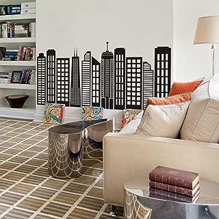 DigTour WallArt Simple Geometric City Skyline Silhouette Custom Vinyl City Building Decals for Home (XX-Large,Black)