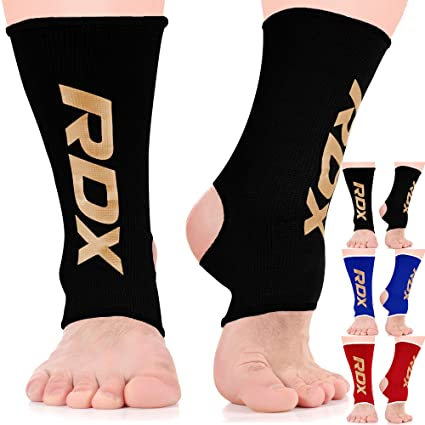 RDX MMA Ankle Brace Foot Guard Boxing Protector Achilles Tendon Support Pain,Black,Large