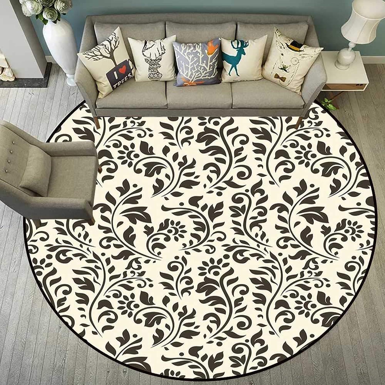 Circularity mat Anti Slip pad Round Indoor Floor mat Entrance Circle Floor mat for Office Chair Wood Floor Circle Floor mat Office Round mat for Living Room Pattern 5'7  Diameter