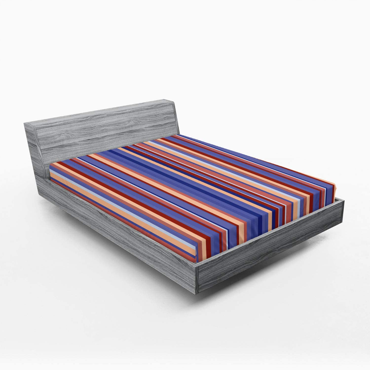 Ambesonne Abstract shop Popular Fitted Sheet Gradient Stripes Color Vertical