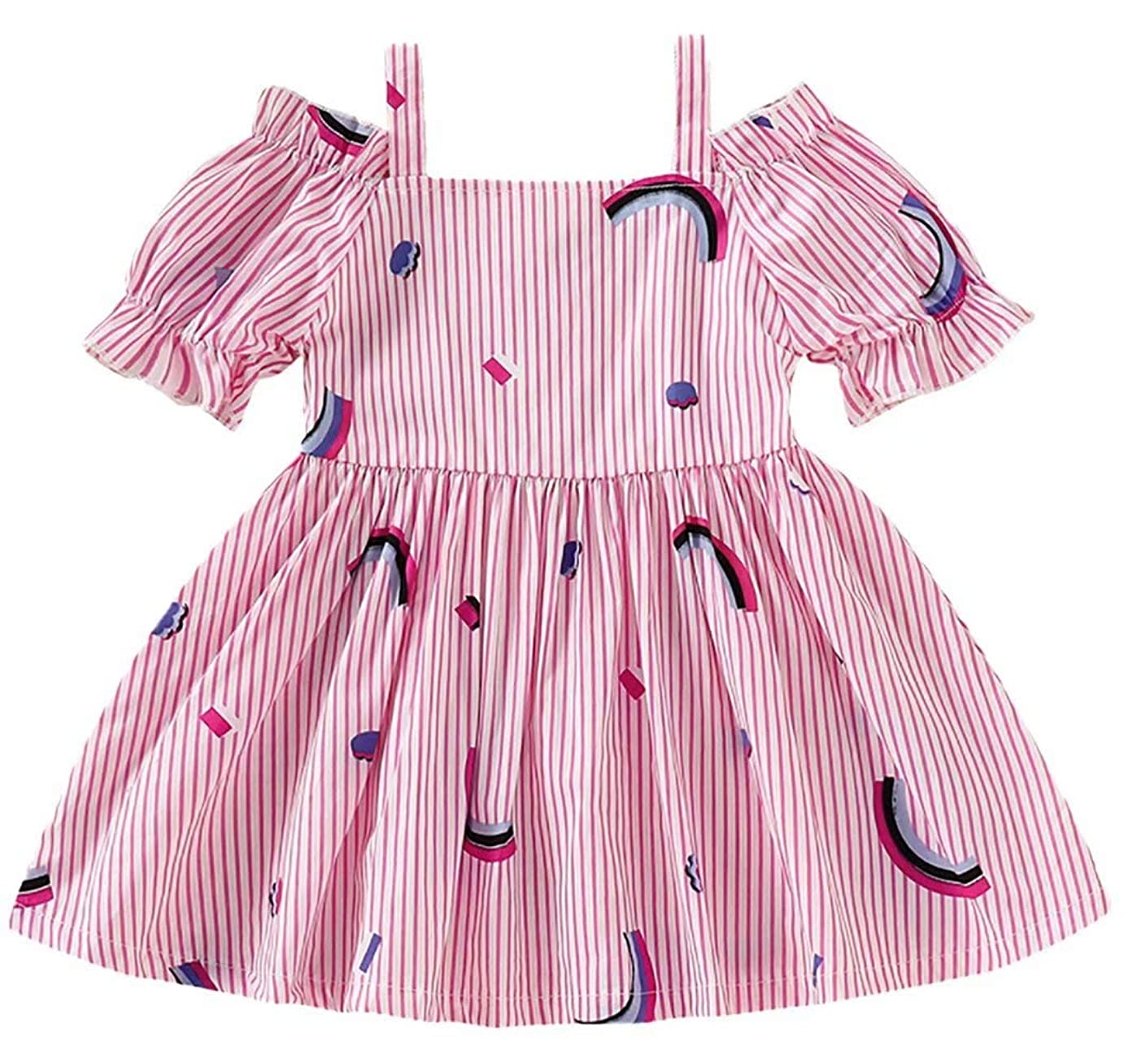 KIDDAD Toddler Baby Girls Rainbow Print Striped Off Shoulder Strap Dress Summer One Piece Party Dresses Sundress