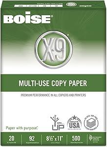 Boise OX9001JR X-9 Multi-Use Copy Paper, 92 Bright, 20lb, 8-1/2 x 11, White, 2500 Sheets/Carton