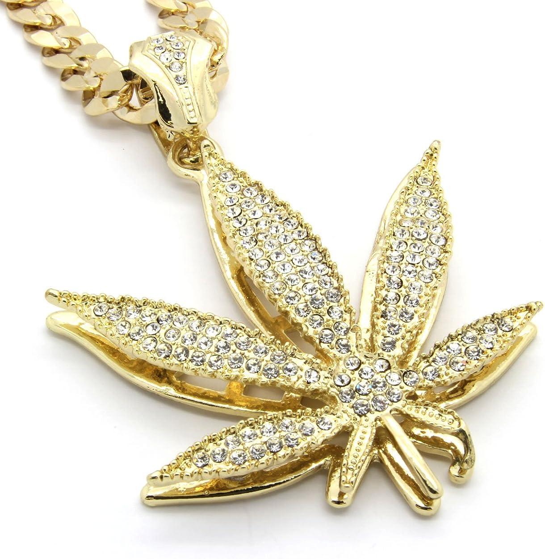 Mens Gold Tone Marijuana Hip Hop Pendant 30