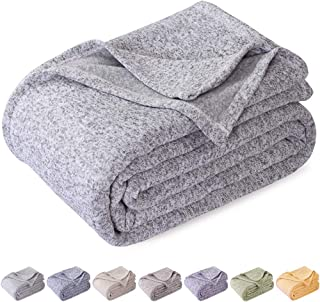 KAWAHOME Knit Blanket Lightweight Warm Fuzzy Heather Jersey Blankets All Season for Couch Sofa Bed King Size 108 X 90 Inches Grey and White