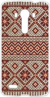 スマホケース ハードケース LG isai vivid LGV32 用 [ノルディック柄・レッド] 北欧柄 ニット風 エルジー イサイ ビビッド au スマホカバー 携帯ケース 携帯カバー knitted_00r_h169@05