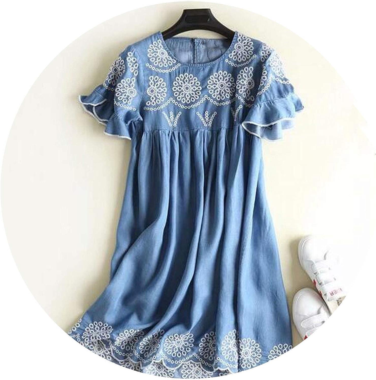 Women Vintage Embroidery bluee Denim Dress 2018 Summer Short Sleeve A Line Party Dress Girls Fashion Streetwear