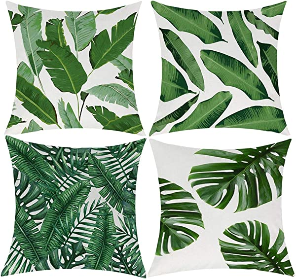 Pack Of 4 Tropical Leaves Throw Pillow Cover Decorative Cotton Linen Burlap Square Outdoor Cushion Cover Pillow Case For Car Sofa Bed Couch 18x18 Inch