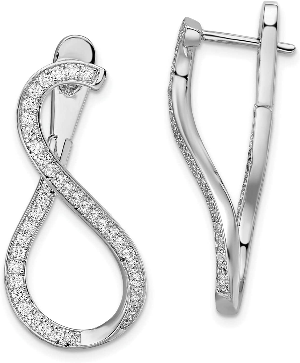 Sterling Silver CZ Popular standard In and Dangle Post Earrings Out Safety and trust