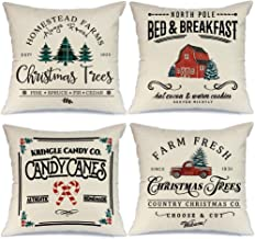 AENEY Christmas Pillow Covers 18x18 Set of 4, Farm Fresh Tree Red Truck Rustic Winter Holiday Throw Pillows Farmhouse Chri...