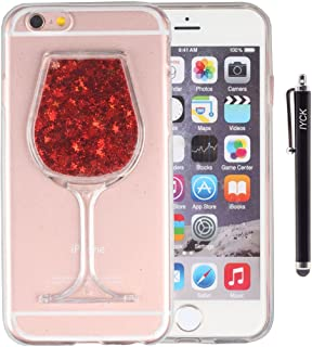 iPhone 6 Plus Case, iPhone 6S Plus Case, iYCK Luxury Bling Glitter Sparkle Flowing Floating Liquid Infused Flexible Transparent Soft TPU Rubber Case Cover for iPhone 6/6S Plus 5.5inch - Red Wine Glass