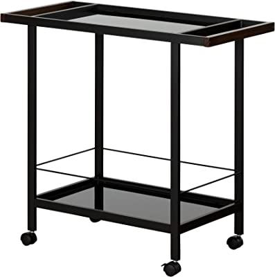 South Shore Metal Bar Cart on Wheels with Glass Shelves, Black Tempered Glass