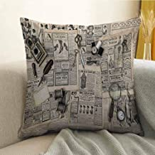 Antony Petty Clock Silky Pillowcase Antique Accessories Design Old Fashion Magazine Sewing and Writing Tools Print Super Soft and Luxurious Pillowcase W16 x L24 Inch Beige and Black