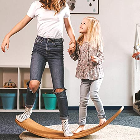 ARELUX Wooden Wobble Balance Board,37 Inch Rocker Board Natural Wood,Multifunction Balance Toy for Children of 3 Years and Older,Yoga Curvy Board for Classroom & Office Adult