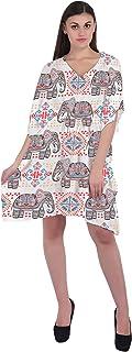 RADANYA Elephant Short Casual Cotton Kaftan Evening Summer Beach Dress Caftan for Women
