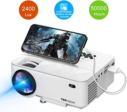 T TOPVISION Mini Projector, 2400Lux Projector with Synchronize Smart Phone Screen, Supported...