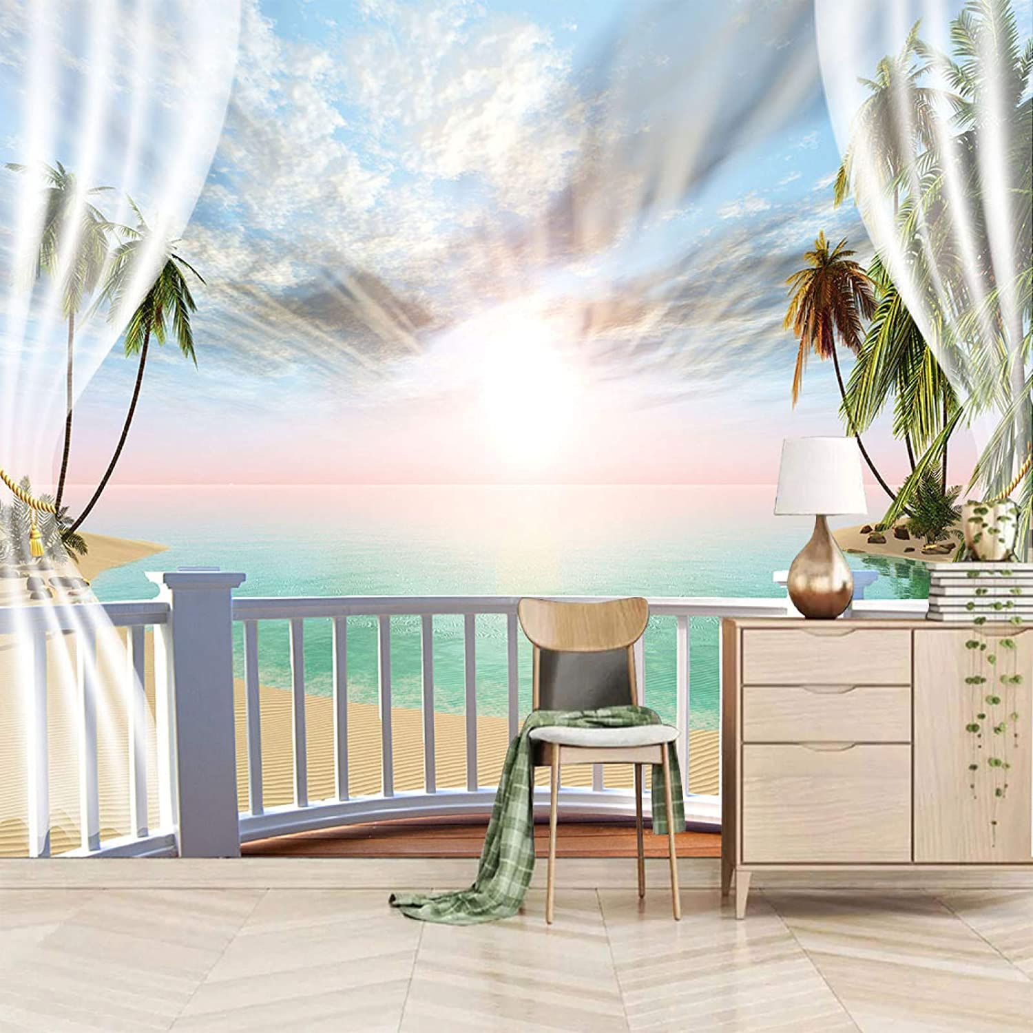 XiaoCha Sunset Sky Ocean Plants Self-Adhesive Wall Max 47% OFF 3D Gorgeous Stickers