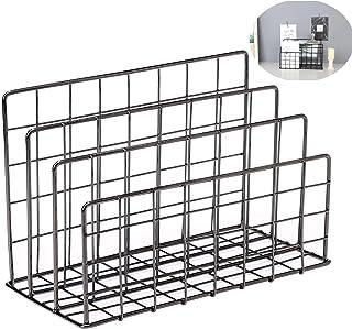 Magazine Rack Book Record Holder, 3 Slot Desktop File Sorter Organizer Rack, Metal Desktop Iron Storage Multifunction Orga...