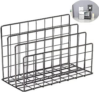 Magazine Rack Book Record Holder, 3 Slot Desktop File Sorter Organizer Rack, Metal Desktop Iron Storage Multifunction Organizer Decor Home Office (Black)