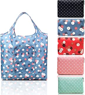 """Picowe 5Pack Reusable Grocery Bags, 16.5"""" x 24.8"""" Foldable shopping tote bag, Handy Shopping Shoulder Bag, Polyester, Durable, Washable Large Capacity, Heavy duty, fits in Pocket"""