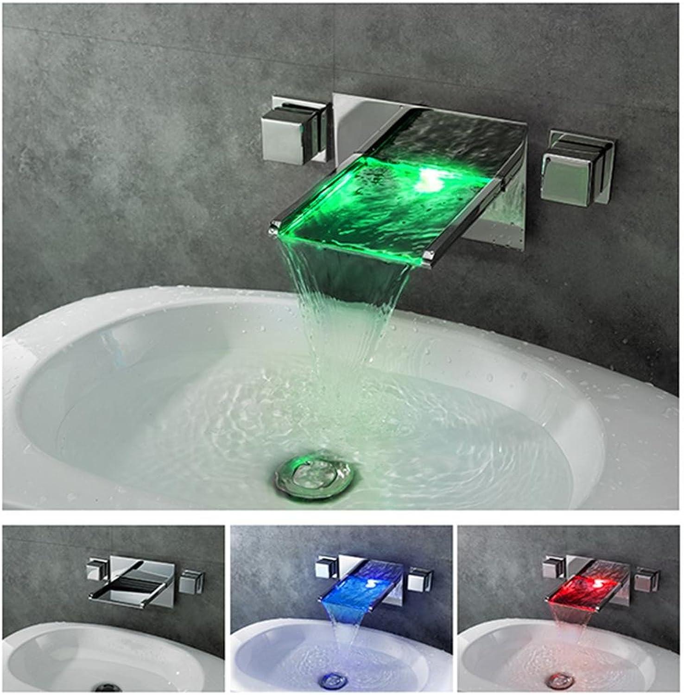 Fen Kupfer warmen und kalten Wasser Wasserhahn in die Wand der Doppelte Griff Waschbecken Wasserhahn Allgemeine Waschbecken Becken Wasserhahn LED-Licht Wasserhahn