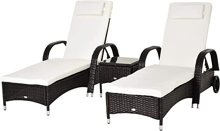 2 sdraio da giardino  e tavolino lettino prendisole reclinabile con rotelle  outsunny set IT862-011BN0631