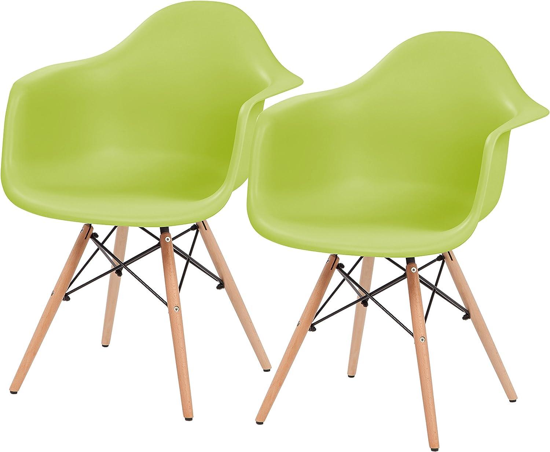 IRIS Mid-Century Modern Shell Armchair with Wood Eiffel Legs, 2 Pack, Grass Green