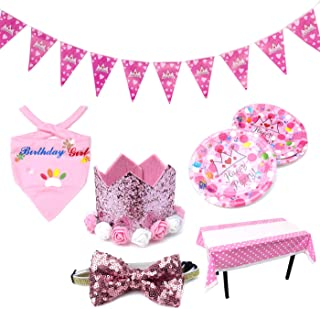 Alfie Pet - Manuka Birthday Bandana, Table Cover, Plates, Flag Banner, Hat and Bow Tie Set