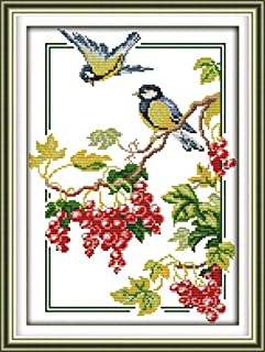 Zamtac Birds and Berries Cross Stitch kit Animal Lover on Tree 14ct 18ct Count White Canvas Embroidery DIY Handmade Needlework Plus - (Cross Stitch Fabric CT Number: 14ct White Canvas)
