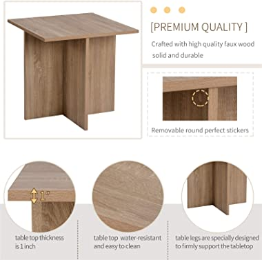 QSSLLC 5 Piece Dining Table Set, Dining Room Table Set for 4 with 4 Storage Ottomans, Wood Table for Kitchen, Dining Room - B