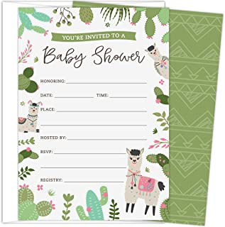 Koko Paper Co. Llama Baby Shower Invitations. Set of 25 Gender-Neutral Fill-in Invites and White Envelopes Featuring Colorful Cactus and Floral Accents.