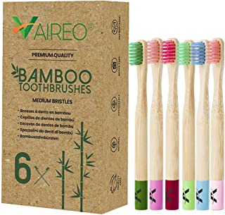 Vaireo Bamboo Kids Toothbrushes   Child 6-Pack Eco-Friendly Durable Bamboo Wooden Kid Toddler Toothbrush   Organic and Natural for children Tooth Brushes   b07dmqcb1p b07g1ms2nl b018hlos1k B07dqxx1j3