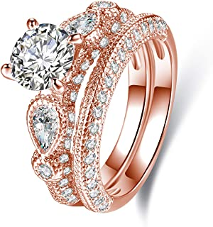 18K White Gold Plated Or Rose Gold Plated Cubic Zirconia Multi-Band Engagement Ring Set