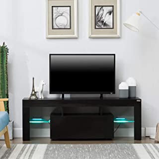 """wonline 51"""" TV Stand Media Console Cabinet LED Shelves Living Room Furniture Black"""