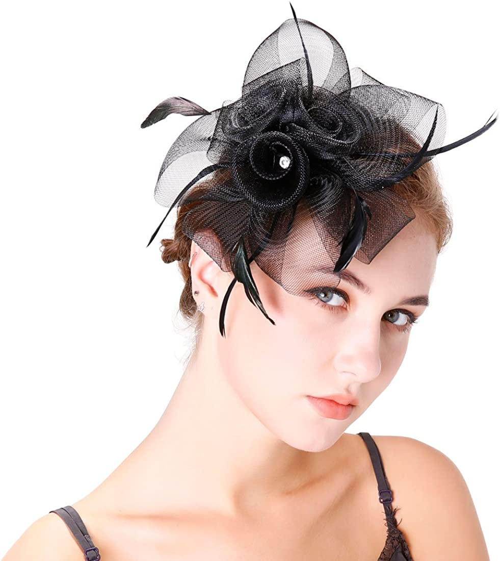 Vintage Fascinators Top Hat for Women Wedding Headband Kentucky Derby Hair Clip Tea Party Cocktail Headwear